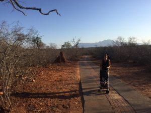 Wandelen in Zuid-Afrika op Zandspruit Estate met baby